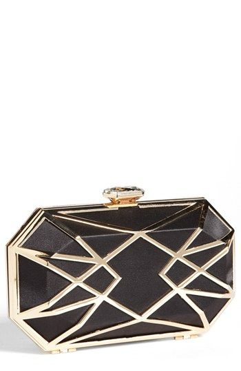 $68, Metal Clutch Black Gold by Glint. Sold by Nordstrom. Click for more info: http://lookastic.com/women/shop_items/96932/redirect