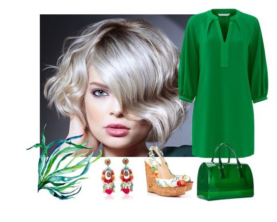 """Green"" by mahshid-afshar ❤ liked on Polyvore featuring Trina Turk, Christian Louboutin, Furla and Ranjana Khan"