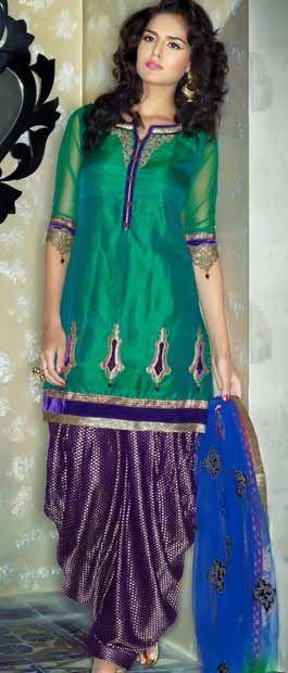 Green Art Silk Salwar Kameez with Dupatta | $175.30 | east indian ...