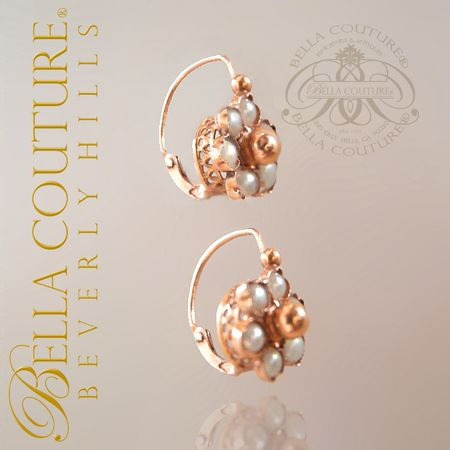 RARE GORGEOUS ANTIQUE VICTORIAN DAINTY 18K ROSE GOLD PEARL CIRCA 1838 ORNATE EARRINGS FINE JEWELRY