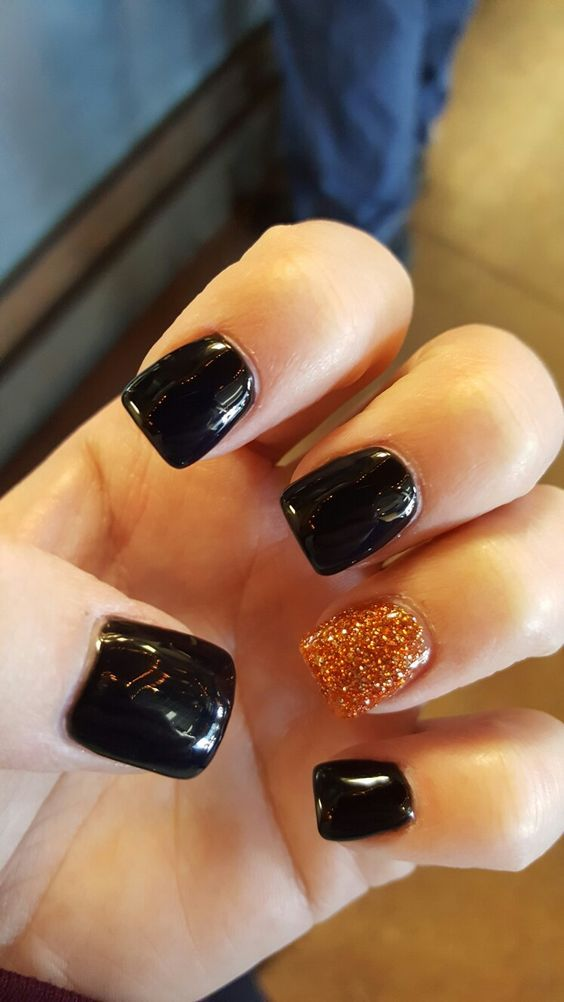 Black Orange Thanksgiving Nail Art Thanksgiving Nails Holloween Nails