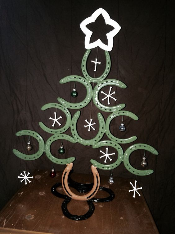 Finished up the charlie brown christmas tree made out of for Christmas tree made out of horseshoes