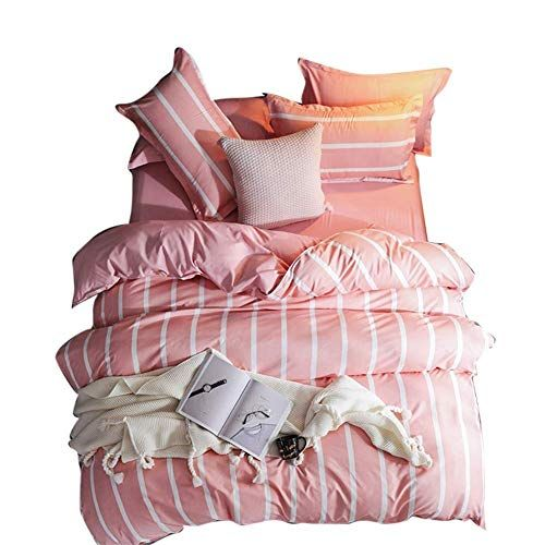 Rstjbs Duvet Cover And Pillowcase Set Modern Pink And White Stripes Luxurious Fashion Quilt Cover 230230cm Best Quilted Comf Quilt Comforter Comforters Duvet