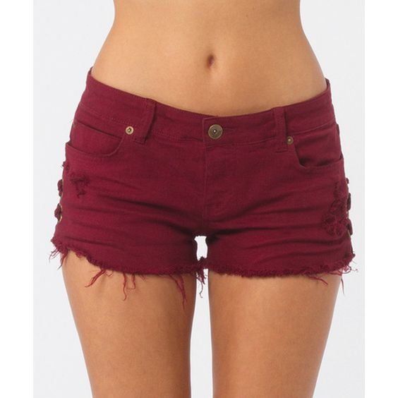 Billabong Women's Lite Hearted Side Tie Denim Shorts ($25) ❤ liked on Polyvore featuring shorts, bottoms, pants, short, shiraz, walkshorts, destroyed jean shorts, lace-up shorts, short jean shorts and denim short shorts