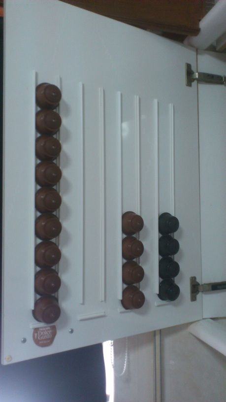 k cup organizer diy:  use grooved plastic tubing that is used to pull cables through the wall