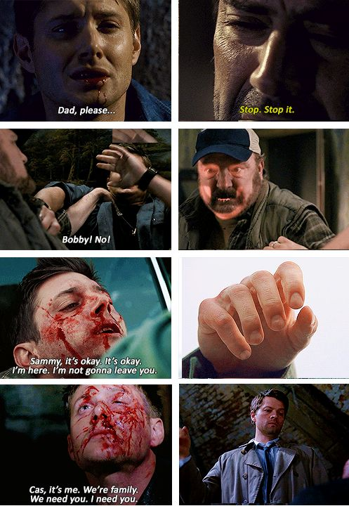 """[SET OF GIFS] Four times.  Dean's loved ones have overcome mind control for him four times.  1x22 Devil's Trap, 5x01 Sympathy for the Devil, 5x22 Swan Song, and 8x17 Goodbye Stranger"" dean is the key to overpowering demons and lucifer"
