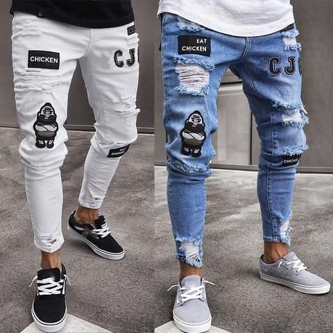 Men/'s Skinny Jeans Trousers Biker Destroyed Frayed Stretch Denim Ripped Pants