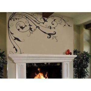 wall decal over fireplace  Vinyl Wall Decal Sticker Flower Vines Floral Edge 6ft Tall CHECK PRICE