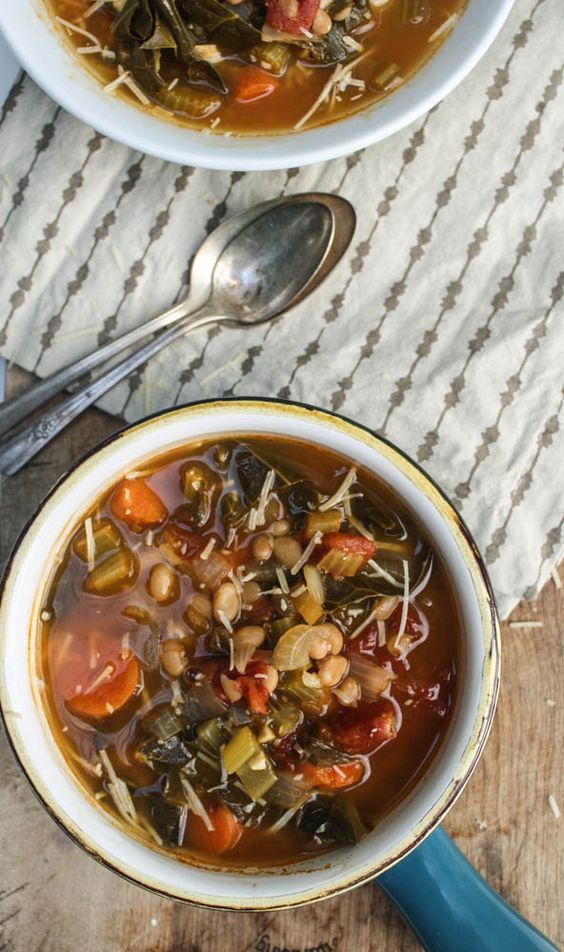 White Bean and Collard Green Soup - simple, delicious way to get your greens. Skip the potatoes and the Parmesan garnish for Phase 3.