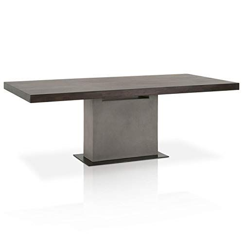 Maklaine Dining Table In Espresso Solid Birch And Slate Gray