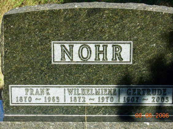 "Tombstone Tuesday: Wilhelmina ""Minnie"" (Altman) Nohr #genealogy"