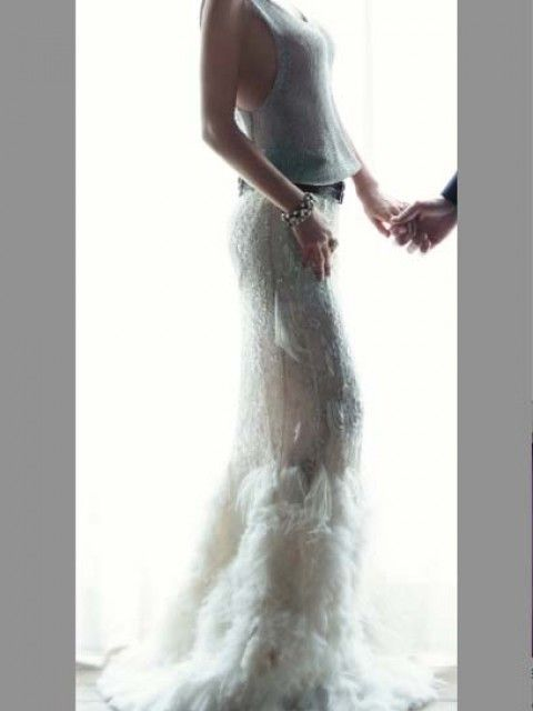 Ralph Lauren hand beaded feather skirt Size 1 Wedding Dress – OnceWed.com