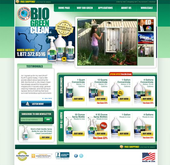 Biogreen Cleaning Product small business website