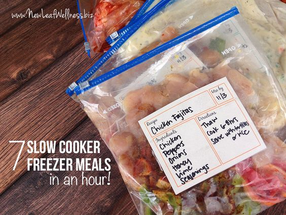 Seven slow cooker freezer meals that you can make in an hour, including recipes, a grocery list, and my best freezer meal tips!