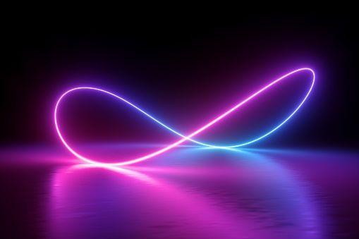 3d Render Infinity Symbol Neon Light Loop Ultraviolet Spectrum Letrero De Neón Pantalla De Pc Neón