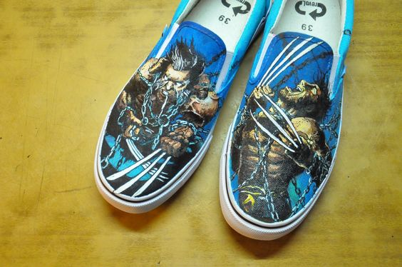 Wolverine shoes. acrylic. inspired by marvel #marvel #wolverine #handmade #shoes