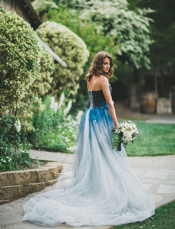 indigo dyed Rmine wedding dress: