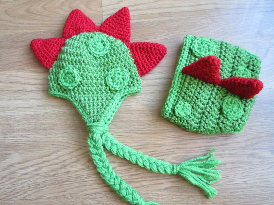Crochet Dinosaur Hat And Diaper Cover Pattern : Crochet Dinosaur beanie and diaper cover Handmade Gifts ...