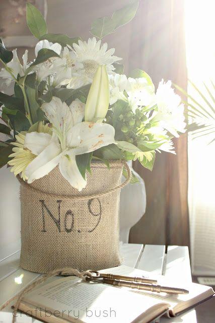 burlap numbered vase