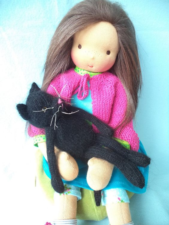 JULIA and LINUS 19 inch doll girl and her cat by Elfenbaum