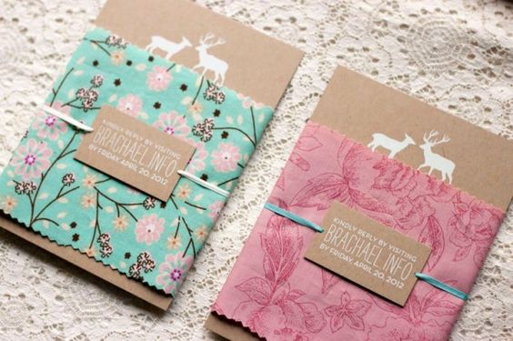Add a handkerchief or tea towel around your invite to create a warm and inviting wedding package