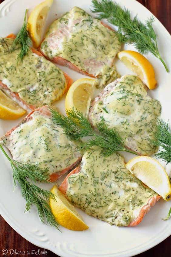 Creamy Dijon & Dill Baked Salmon {Low-FODMAP, Gluten-Free, Dairy-Free, Egg-Free}  /  Delicious as it Looks