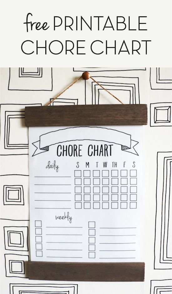 Free Printable Chore Chart (and DIY tutorial for making the wooden frame).