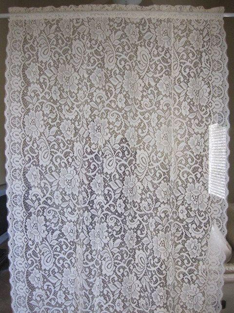 Curtains Ideas cheap lace curtain panels : Vintage Lace Curtain, Off White Floral Lace Curtain Panel 40 x 62 ...