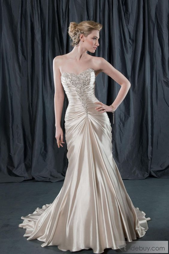 Spectacular Trumpet/Mermaid Sweetheart Floor-length Chapel Ruffling Wedding Dresses with Appliques