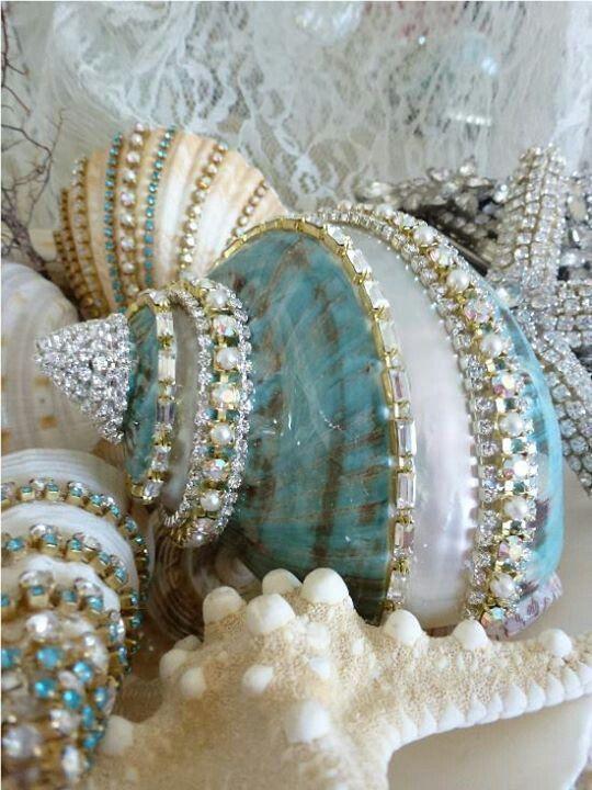Shells with rhinestones! #bling