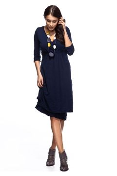 Vigorella 3/4 Sleeve Dress With Crossover - Womens Short Dresses at Birdsnest Online