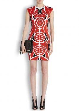 Floral stretch knit mini dress