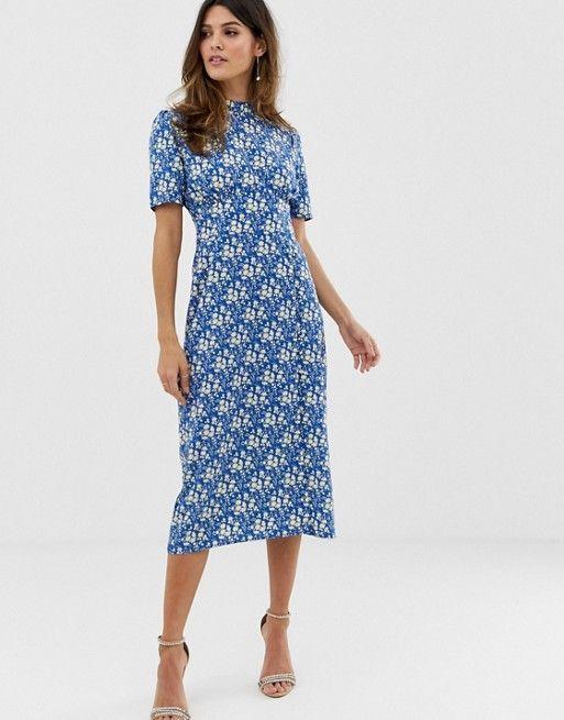 Asos Design Asos Design Midi Tea Dress With Buttons In Floral Print Modest Dresses Casual Tea Dress Modest Dresses