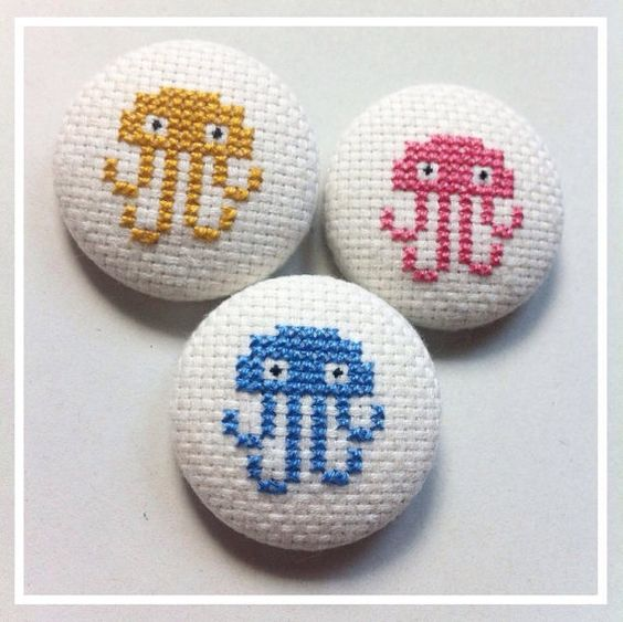 Modern embroidery pinback button - blue, yellow or pink jellyfish