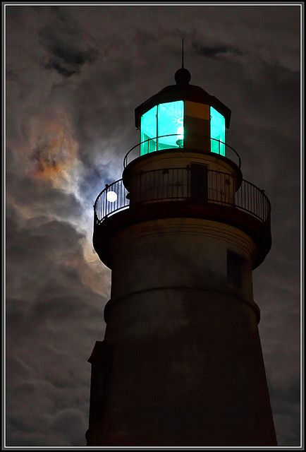 Marblehead Lighthouse and the Moon, Ohio. Reminds me of Gatsby because of the green light.
