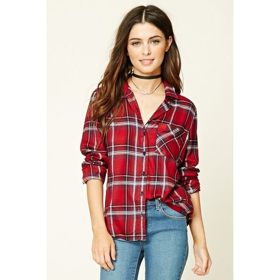 Forever 21 Women's  Tartan Plaid Shirt ($20) ❤ liked on Polyvore featuring tops, plaid shirts, shirt tops, tartan plaid shirt, red shirt and red plaid shirt