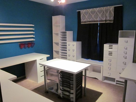 """My New Scraproom, Part 2 - Scrapbook.com  LOVE the units attached tot he wall and the """"round the room"""" work area"""