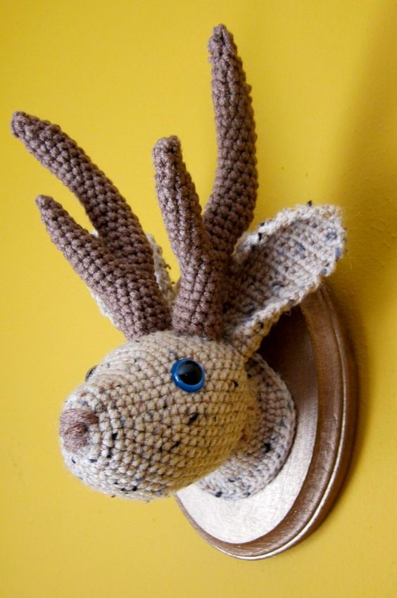 Marie the Jackalope -- Speckled Brown and Tan. $50.00, via Etsy.: Speckled Brown, Amigurumis Animalitos, Animal Heads, Baby Gallagher, Mason, Crochet Amigurumi