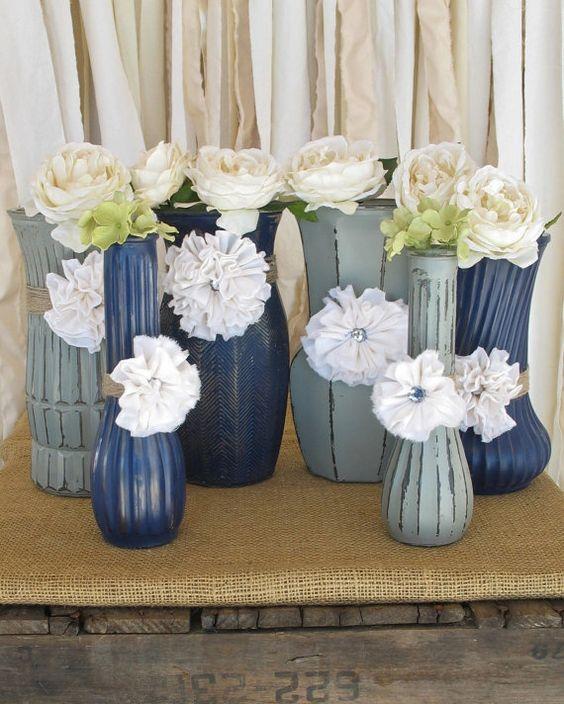 Blue Wedding Decorations: Vases,Hand Painted Flower Vases, Upcycled Flower Vases