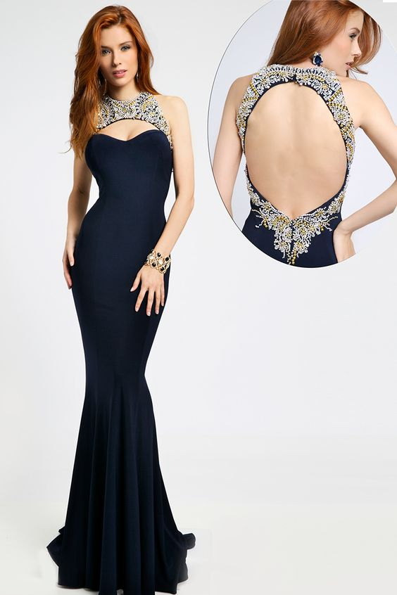 Halter fitted long prom gown 98048
