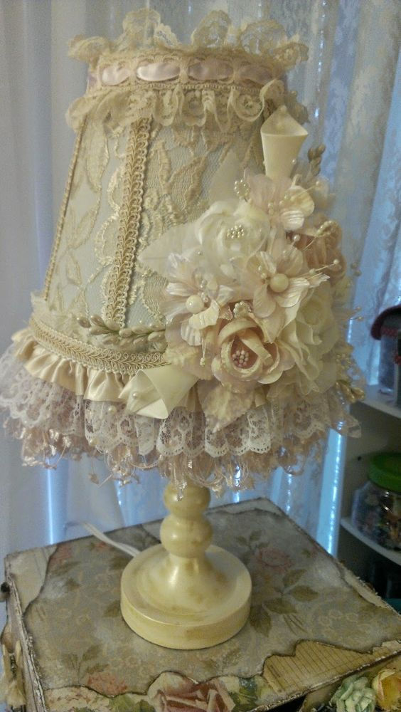 kitty 39 sscrappost shabby chic altered lamp lampshade pinterest shabby chic chic and shabby. Black Bedroom Furniture Sets. Home Design Ideas
