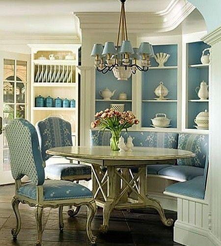 Painted Family Kitchen With Dining Nook: Beautiful With Painted Cabinet Behind Banquette Area