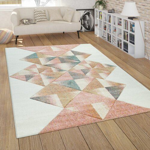 Juri Shag White Pink Orange Rug World Menagerie Size Rectangular