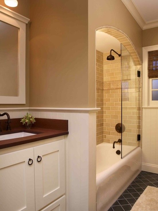 Tub shower combo glasses and pictures on pinterest - Small bathroom remodel with tub ...