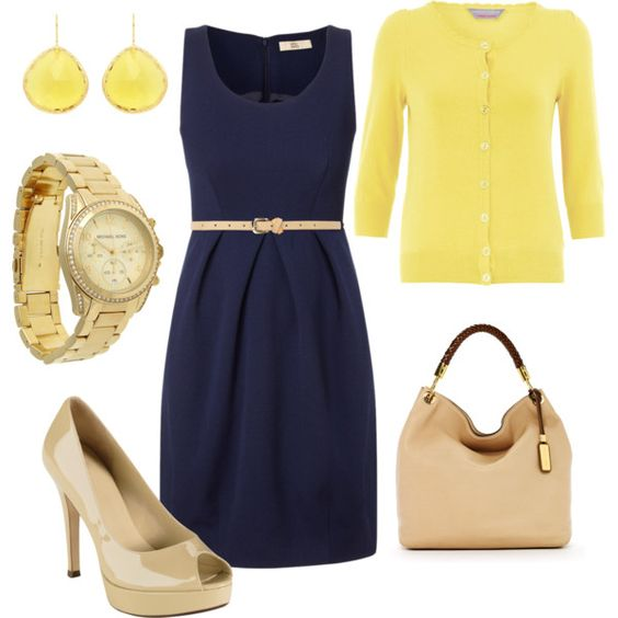 yellow cardigan, blue dress, nude color accessories: Yellow Navy, Navy Outfit, Color Combos, Dream Closet, Navy Yellow, Yellow Cardigan, Navy Dress, Work Outfits, Navy Blue