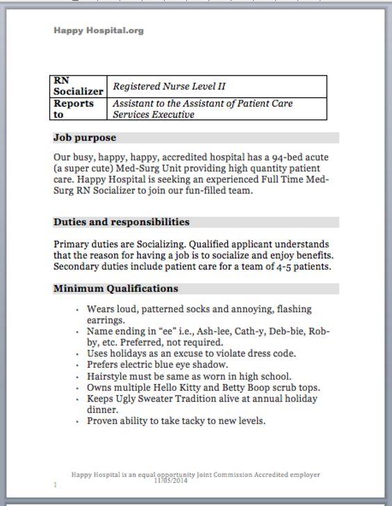 Job Opening for RN Socializer (satire) Job description, Nurse - registered nurse job description
