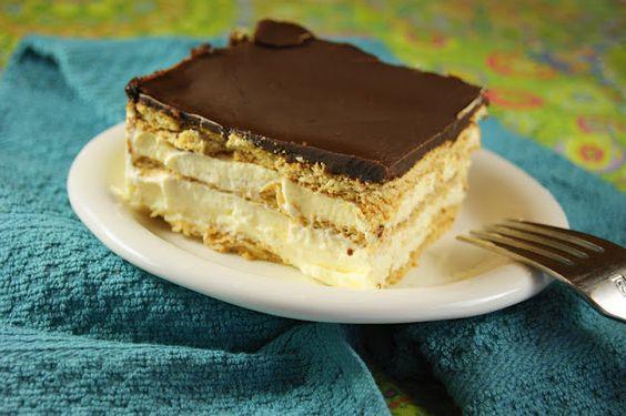 No-Bake Chocolate Eclair Dessert via The Kitchen is My Playground