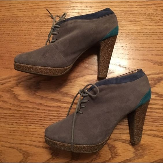 Gray Booties Super chic faux suede gray, blue, and teal lace-up booties with brown heel. Worn once. These lace ups are so cute!! Wild Diva Shoes Ankle Boots & Booties