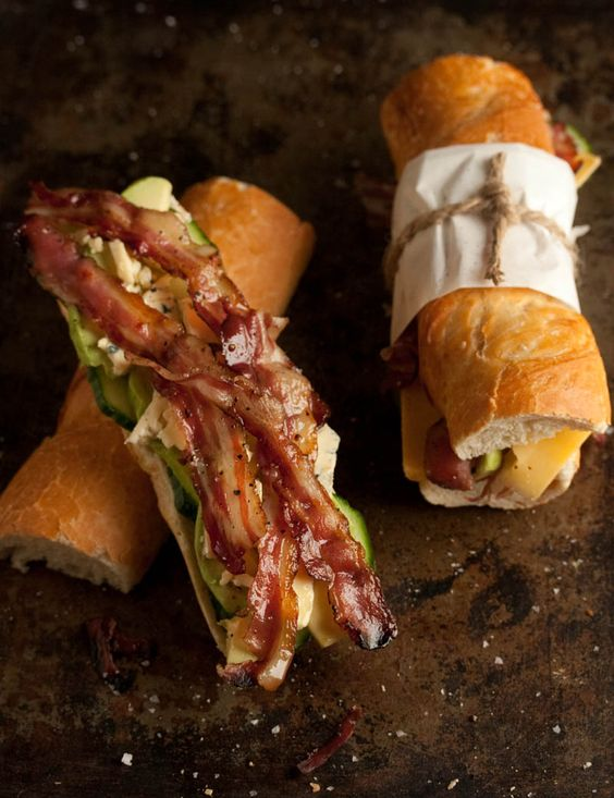 bacon, blue cheese and avo baguette (what I [HHH] really love however is the presentation and wrapper!)