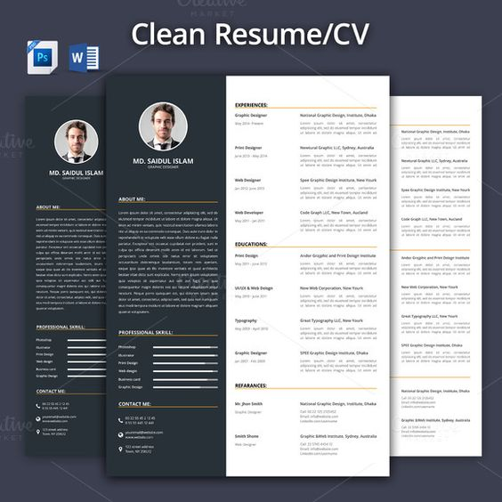 Clean Resume\/CV Template+Word Format by@Graphicsauthor Resume CV - clean resume design